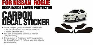 Carbon Door Cover Plank Protective Film Anti Kick 4P For NISSAN 2010-2012 Rogue