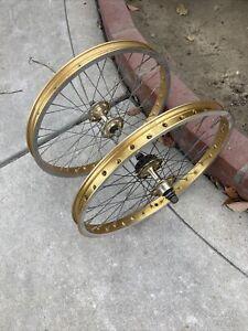 Araya Gold 20 x 1.75 Rims Suzue Hubs Dated 1980's BMX Vintage Old School Wheels