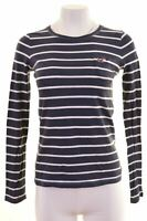 HOLLISTER Womens Top Long Sleeve Size 6 XS Navy Blue Striped Cotton  HP10