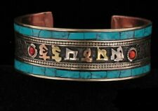 Cuff Bracelet with Native Mantra Beautiful Vintage Turqoise Inlay Copper