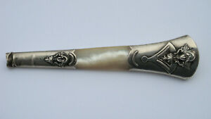 Victorian Sterling Silver and Mother of Pearl Parasol  Handle