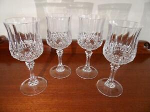 Set X 4 Vintage Retro French Crystal Hock Riesling White Wine Bar Glasses