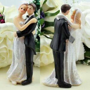 Set of 4 Bride and Groom Wedding Cake Topper - Pack of 4 Cake Toppers