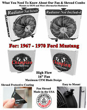 """Champion Discount Shroud W/ 16"""" Fan for 1969 1970 Ford Mustang"""