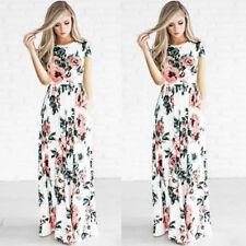 Women BOHO Floral Print Beach Dress Lady Evening Party Short Sleeve Maxi Dress