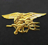 """US Navy SEALS Special Warfare Gold Trident Insignia Badge Pin 2-3/4"""" Full Size"""
