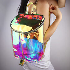 Nouveau femme sac à dos cartable brillant multicouleur Hologram Transparent PVC