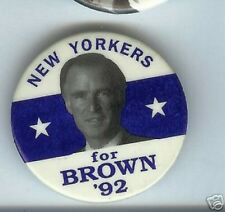 New York for Jerry BROWN 1992 pin President