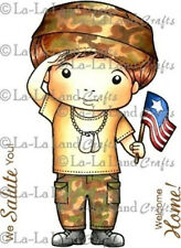 SALUTING LUKA-La-La Land Crafts Mounted Cling Rubber Stamp-Stamping-Army-Soldier