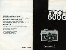 """PUBBLICITA' WERBUNG """" RICOH 500 G """" MANUALE DI ISTRUZIONI"""
