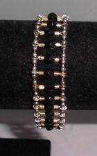 Vintage Gold Tone Black & Gold Plastic Beaded Ladder Style Bracelet