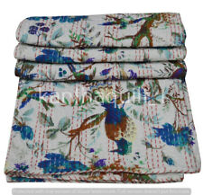Indian Handmade Bird Print Kantha Quilt Reversible Bedspread Twin Cotton