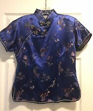Esme Chinese Women's Blouse Embroidery Oriental Blue Traditional 38 Frog Buttons
