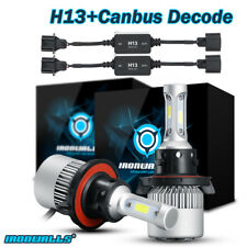 H13 9008 1020W LED Headlights Kit 6000K HI/Lo Bulbs + Canbus Error Free Decoder
