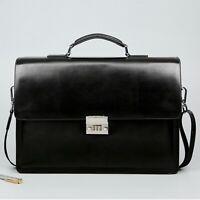 Business Men Bag Large Capacity Cowhide Leather Briefcase Horizon Password Lock