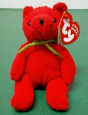 New 2002 Ty Jingle Beanie Plush Red Mistletoe Bear Christmas Holiday Ornament