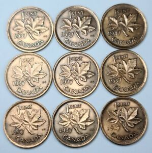 LOT OF 9 CANADA 1937 1¢ CENT CANADIAN PENNIES. UNCIRCULATED (CLEANED)