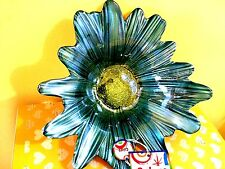 "Daisy BLUE Flower Hand Decorated Glass Bowl Decoration10"" DIAMETER"