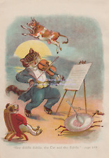 COW JUMPED OVER MOON-1910 ANTIQUE ART PRINT-NURSERY RHYME-CAT-DIDDLE-FIDDLE-DOG