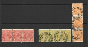 Stamps Australia KGV Heads Strips of 3 x 3 Good Used/Fine Used 1/2d, 2d, 4d