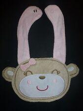 NEW Carter's Light Pink Monkey Baby Girl Terry Cloth Teething Drool Bib