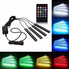 4PCS Car RGB LED Strip Light Auto Interior Atmosphere Lamp with Remote Control
