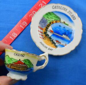 Souvenir 1950's Avalon Bay View, Casino Catalina Island Ceramic Cup + Saucer