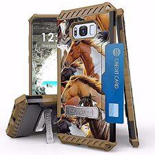 For Galaxy S8 Tri Shield Armor Kickstand Design Cover Case WILD HORSES