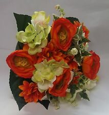 ARTIFICIAL FLOWERS MIXED BOUQUET RANUNCULUS HYDRANGEA DAISY 33CM LG ORANGE