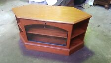 Reproduction Wood Veneer TV & Entertainment Stand Glass Front & Display Shelves