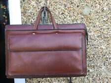 VINTAGE TAN LEATHER MULTICOMPARTMENT BRIEFCASE WORK  BAG  unisex