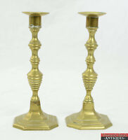 """Antique 20thC Pair of Brass Candlesticks Holder 7 7/8"""" Pushers Square Base"""