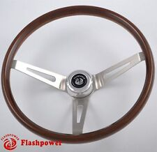 "15"" Real Walnut Wood Classic Steering Wheel Ford Mustang 3 Bolt"