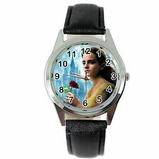 BEAUTY AND THE BEAST BLACK LEATHER DVD FILM MOVIE GIRL FAIRY TALE STEEL WATCH