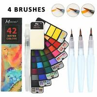 Foldable Watercolor Paint Set – 42 Colors with 4 Watercolor Brushes Pens
