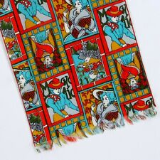 Alphonse Mucha Scarf Retro 1960s Style Cotton Blend 42 X 10 Turquoise Red Gold