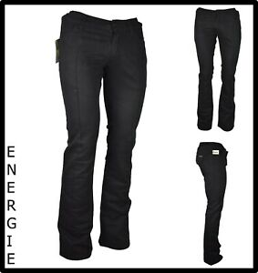 Energie pantaloni jeans a zampa da donna elasticizzati vita bassa neri invernali
