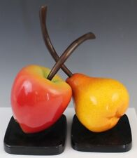 Pair Apple Pear Fruit Bronze Enamel Bookends