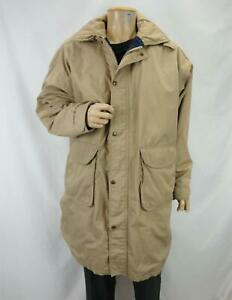 Woolrich Blanket Lined Hooded Over Coat Khaki Tan Men's Size Large