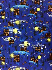 Halloween Trick or Treat Spooky Pumpkin Haunted House 100% cotton fabric by yard