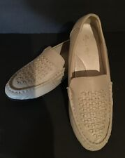 ANGEL STEPS BEIGE CREAM LEATHER COMFORT LOAFERS FLATS WOMENS SIZE 7W