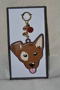 NIB Michael Kors Spot Leather Chihuahua Dog Key Chain bag Charm Year of the Dog
