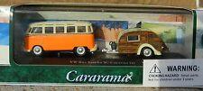 1:72 CARARAMA *VOLKSWAGEN SAMBA BUS w/CARAVAN III Teardrop Camper *ORANGE* NIB
