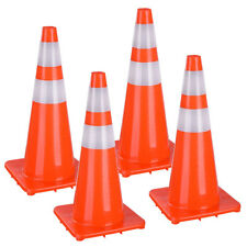 """28"""" Traffic Safety Cones Reflective Collars Overlap Parking Construction 4 Pcs"""