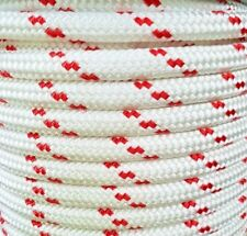 6MM Double Braided Rope Polyester Yacht Rope 30 Metres White Red Fleck