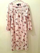 EARTH ANGELS Womens Long Nightgown Fleece Pink Floral Long Sleeve Large