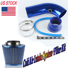 "75mm/3"" Short Blue Cold Air Intake Pipe Kit+ Cold Air Filter For Ford Subaru"