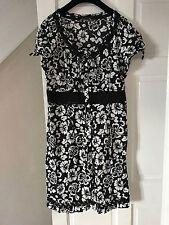 M&S Black & White Tropical Floral Print Cut Out Lace Tea Dress Sz 18