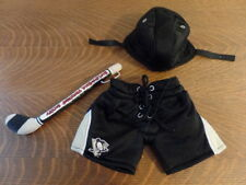 Build a Bear Pittsburgh Penguins Pants / Shorts with Hockey Stick and Helmet