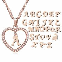 Womens Hot Initial 26 Letters A-Z Alphabet Custom Heart Crystal Pendant Necklace
